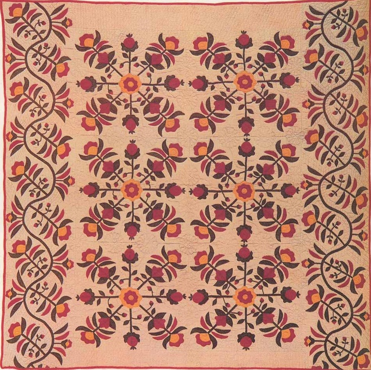 Applique Quilt, 1850. Made by Sarah Ellen Knowles Fisher. Indiana.