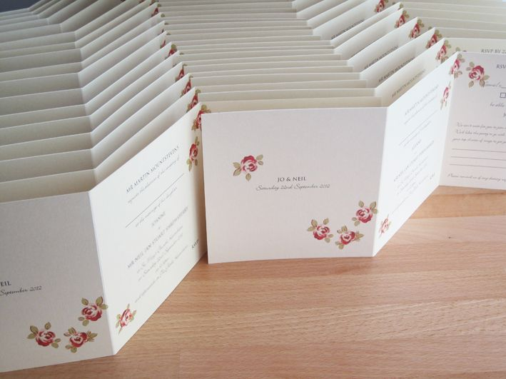Rose ZFold Invitations in pearlescent cream card with red roses.