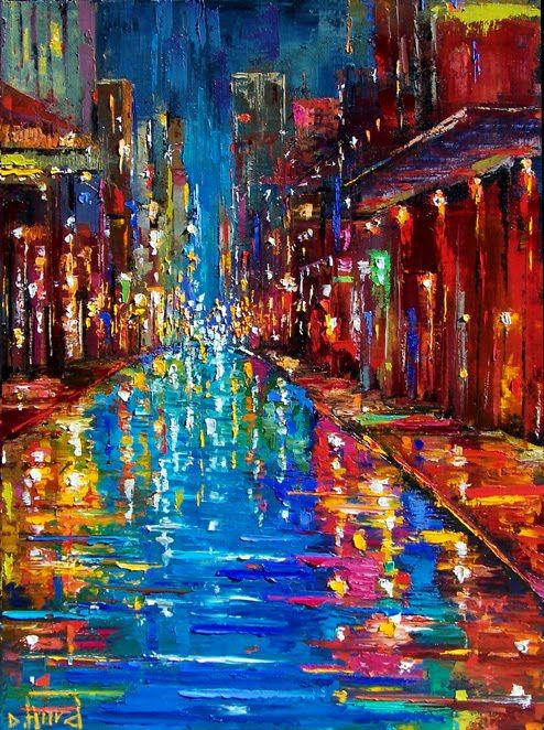 Debra Hurd Original Paintings AND Jazz Art: New Orleans Jazz Street art painting by Debra Hurd
