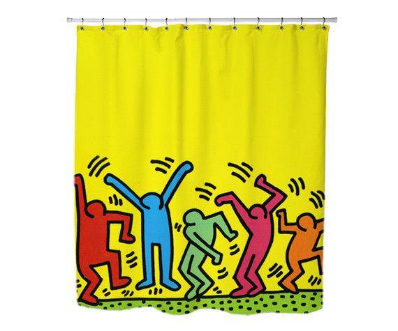 Keith haring pop art custom shower curtains keith haring - Keith haring shower curtain ...