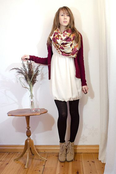 Floral Oversized Scarf, Beige Ankle Boots, White Chiffon Dress, Burgundy Red Cardigan