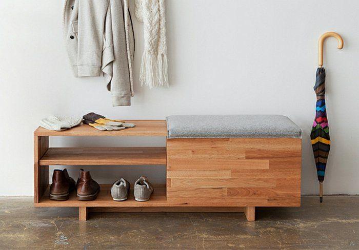 banc de rangement avec petit coussin gris