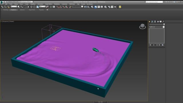 In this tutorial, we discuss one method of creating water simulation using only those tools native to 3DS Max.  We will not cover the use of any 3rd party plugins.  The tools discussed are the flex and point cache modifiers as well as particle flow and path constraint.