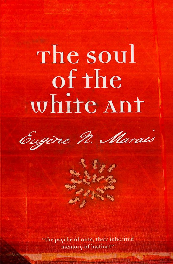 """The Soul of the White Ant (1937) by Eugène Marais whose honest, insightful thinking is particularly evident in the inroads he made into the all-important issue of the """"origins of"""" the immoral """"behaviour of men"""", namely the issue of the human condition: """"instinct…is incapable of deviation from a certain fixed way of behaving…This inherited memory is in every respect a terrible tyrant"""" (p.45)."""