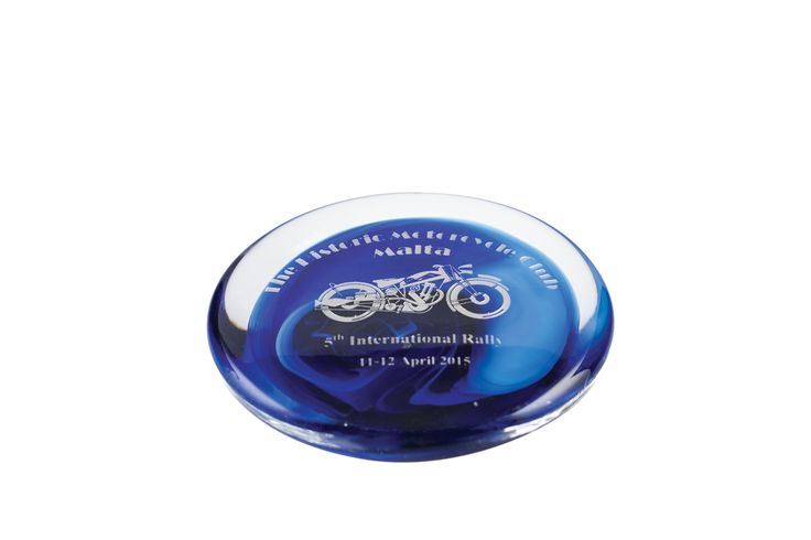 Commemorative paper weight with engraving.