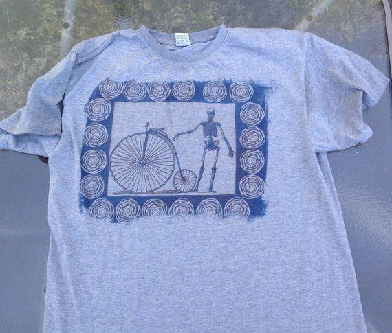 skeleton bike sun printed human anatomy t shirt by SewObsession