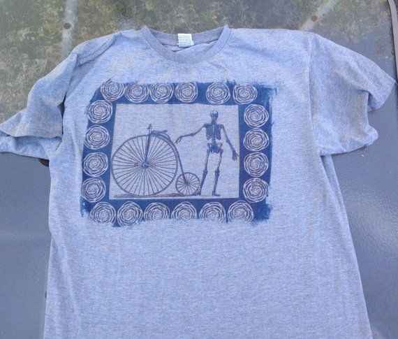 skeleton bike sun printed human anatomy t shirt by SewObsession