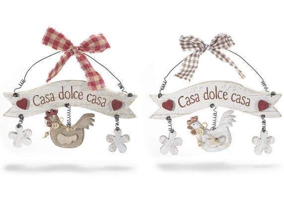 """Insegna """"Casa Dolce Casa"""" in legno con gallo da appendere idea regalo Pasqua"""