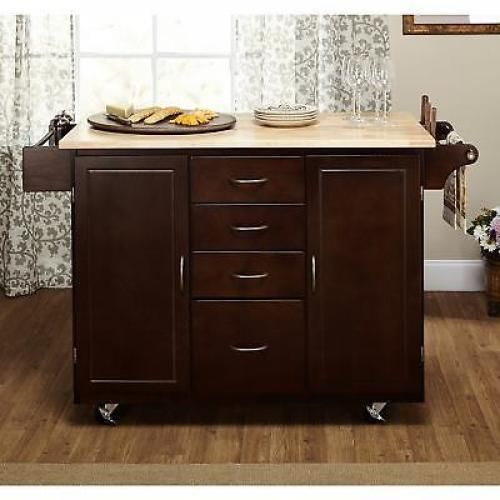b5290b274583 Portable Rolling Kitchen Island Storage Cart Table Top Drawers ...