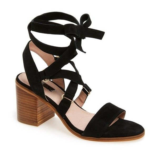 Women's Topshop 'Nadra' Lace-Up Sandal (105 AUD) ❤ liked on Polyvore featuring shoes, sandals, heels, black suede, summer sandals, lace up shoes, black block heel sandals, block heel sandals and black lace sandals