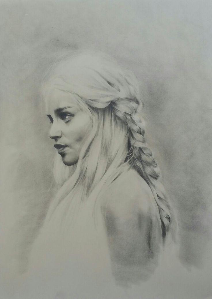 Daenerys Targaryen Pencil on paper 40x50cm framed