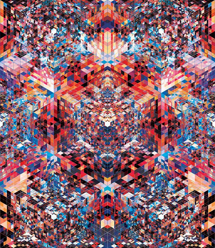 Andy Gilmore This artwork immediately got my attention. I am obsessed with the kaleidoscope look he creates. I love the use of geometric shapes and vibrant colors. This looks very time consuming and carefully thought out.