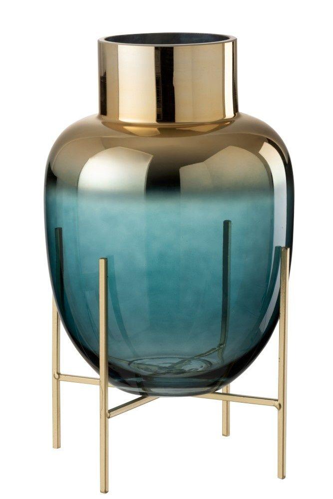 Vaas Op Standaard Blauwgroen Goud Gouden Vazen Gekleurd Glas Vaas