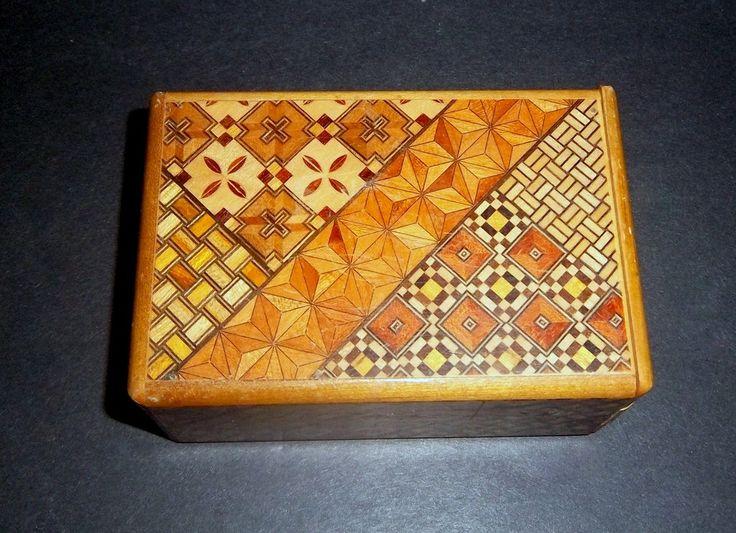 JAPANESE PUZZLE BOX Himitsu-Bako Personal Secret Box Mosaic Geometric Wood Patterned Inlay Yosegi Zaiku Technique Japan Wooden Art Vintage by MADONNASCOLLECTIBLES on Etsy