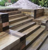 Retaining wall and steps from railway sleepers