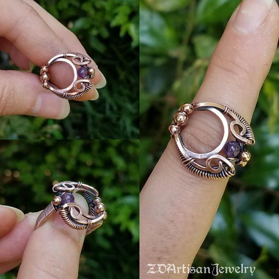 Crescent Moon Wire Ring
