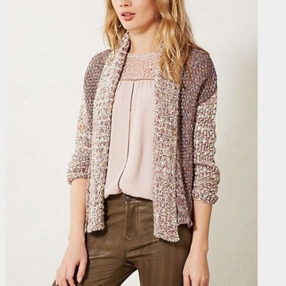 ANTHROPOLOGIE Moth Large Woodhouse Open Cardigan Sweater Chunky Metallic Thread #MOTH #Cardigan
