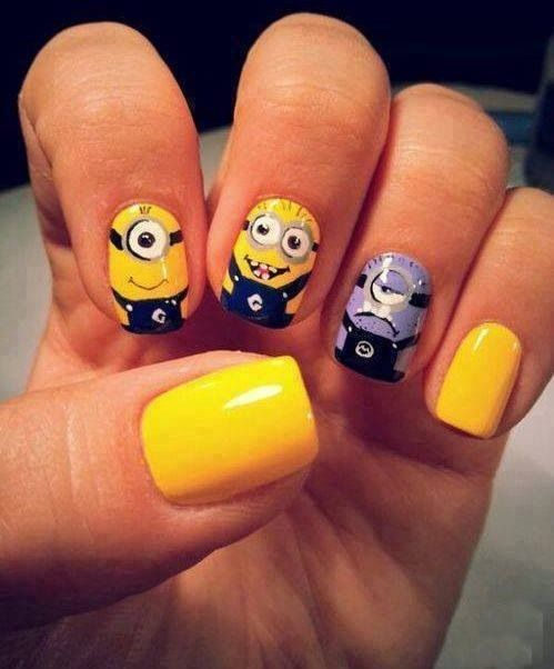 Ahhhhhh!!! Cute minion nails art