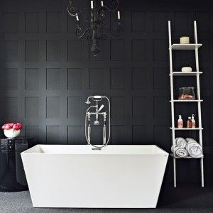 beautiful floor-to-ceiling board & batten bathroom - deep charcoal (almost black) and white/high contrast