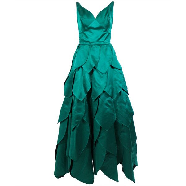 1950's Emerald Green Ball Gown with Petal Skirt ❤ liked on Polyvore featuring dresses, gowns, long dresses, green, white evening gowns, white gown, white satin dress, long white evening dress and white ball gowns
