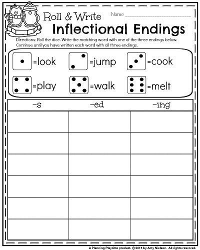 1st grade January Worksheets - Inflectional Endings.