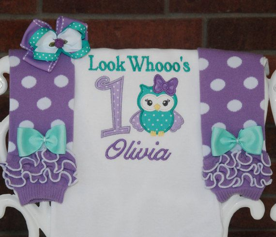Baby Girl Owl First Birthday Outfit First by RuffleDarlings