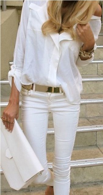 White Outfit for 2014, White shirt with gold accessories.