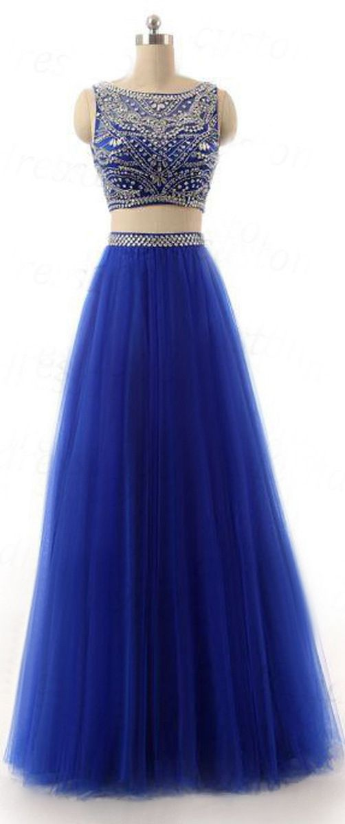 US$170.63-Sexy Two Piece Tulle Blue Long Beaded Prom Dress with Open Back. https://www.junebridals.com/bateau-neck-two-piece-tulle-prom-dress-with-beading-p312182.html.   Free Shipping! JuneBridals selected the best prom dresses, party dresses, cocktail dresses, formal dresses, maxi dresses, evening dresses and dresses for teens such as sweet 16, graduation and homecoming. #prom #dress