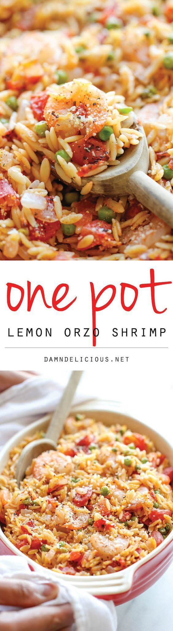 One Pot Lemon Orzo Shrimp.   A super easy one pot meal that the whole family will love!