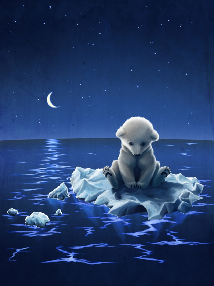 "♥ ice bear illustration ""too late"""