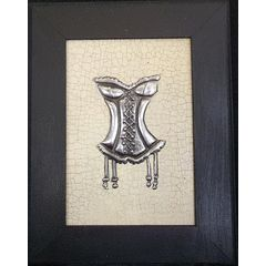 Corset Framed Picture 22 x 17cm -  Pewter Art Picture Handcrafted for R60.00