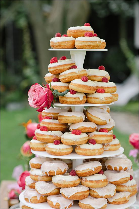 #donut tower @weddingchicks. Raspberries are my favorite and add such a cute pop of color! A MUST have!!
