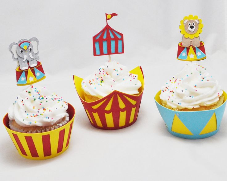 circus cupcake wrappers   Circus Cupcake Toppers and Wrappers by CardsandMoorebyTerri
