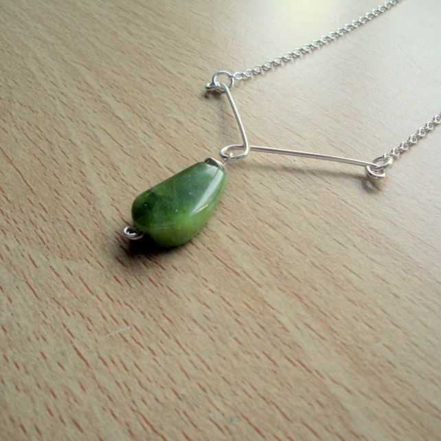Jade and Sterling Silver Pendant Necklace