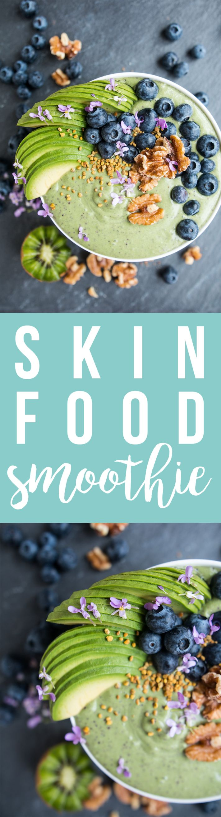 Skin Food Smoothie blends spinach, walnuts, blueberries and kiwi for a skin-supporting powerhouse of a snack or breakfast! Fresh Planet Flavor