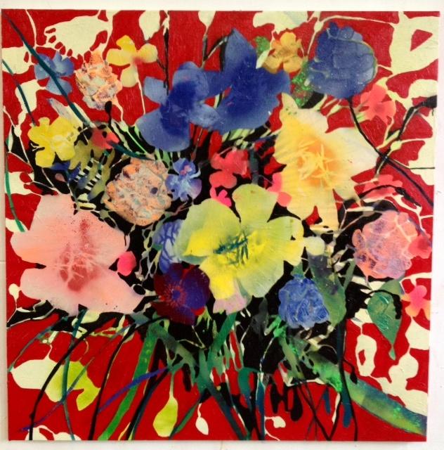 oil an spray on canvas  100x100 cm