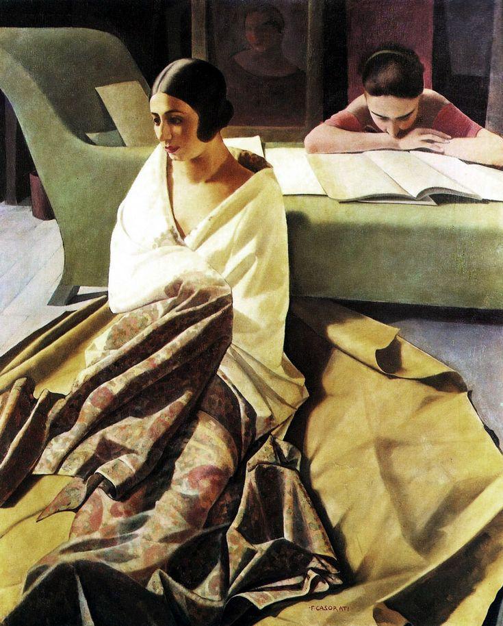 Felice Casorati, La famiglia Consolaro Girelli. SOLITUDO DOMESTICA !! The reading young girl was   , a famous dancer fromTorino