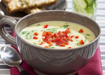 Kronärtskockssoppa med chiligrillad ostsmörgås