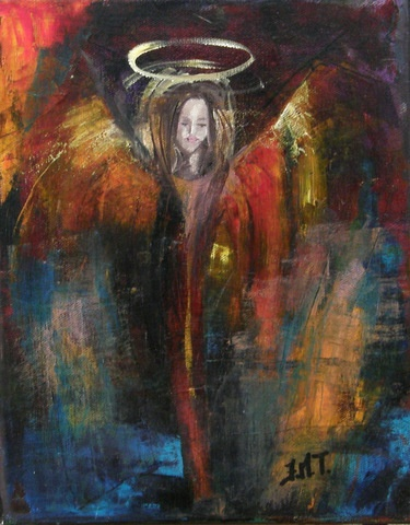 Oilpaint by Jane MOnica Tvedt   When you feel lost, pause and look closely around you. Somewhere, somehow, an Angel will be waiting to guide you home.""