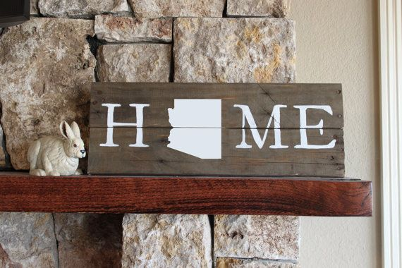 Arizona HOME Reclaimed Wood Sign Arizona State by elhdesign77