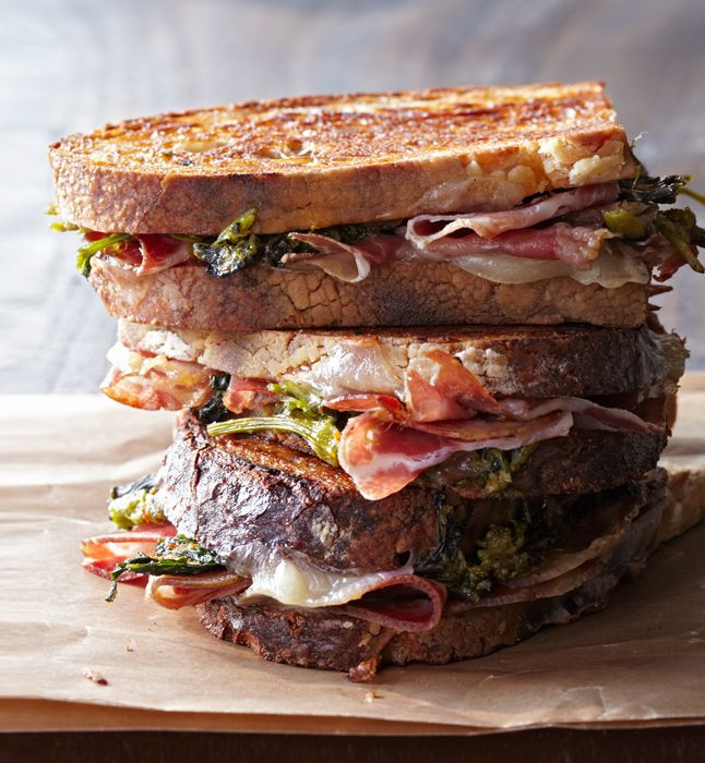 Pressed coppa sandwiches with broccoli rabe pesto // Gentl & Hyers // #lunch courtesy of @tasteLUVnourish