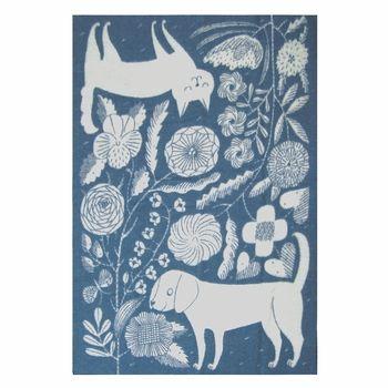 Lapuan Kankurit Koira ja Kissa Blue Wool Blanket - Click to enlarge