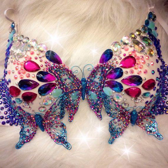 Blue & Pink Ombre {Butterfly} Rave Bra by TheLoveShackk on Etsy <3