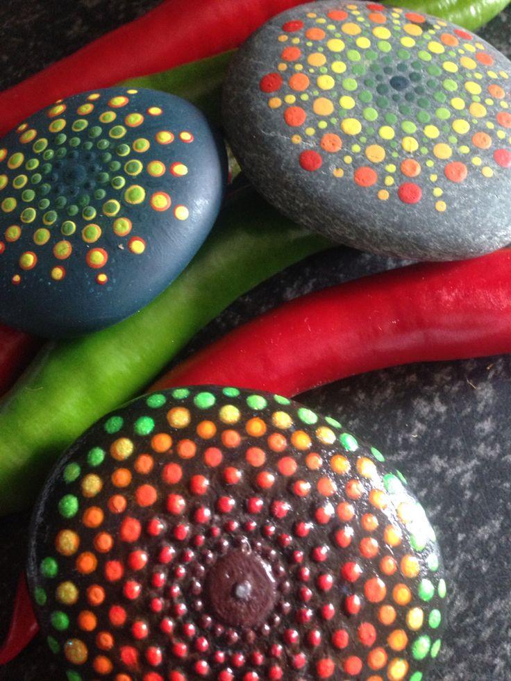 Rock painting #red #orange #green #yellow #summer #cooking #painting #rock #rocks #rockpainting #summer #art