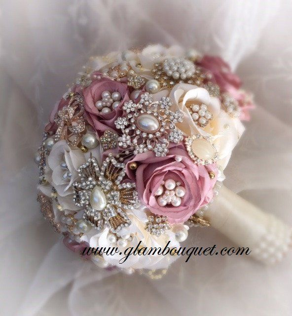 """Custom 9.5"""" Dusty Rose/ivory and Rose Gold Bridal Brooch Bouquet - $520.00 Custom made by Elegant Wedding decor by JoAnne, aka: Glam Bouquet. Dusty Rose and i"""