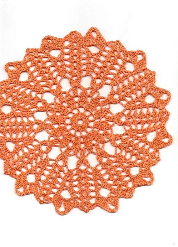 Crochet Doily Lace Orange Handmade Cotton by TheDoiliesEmporium