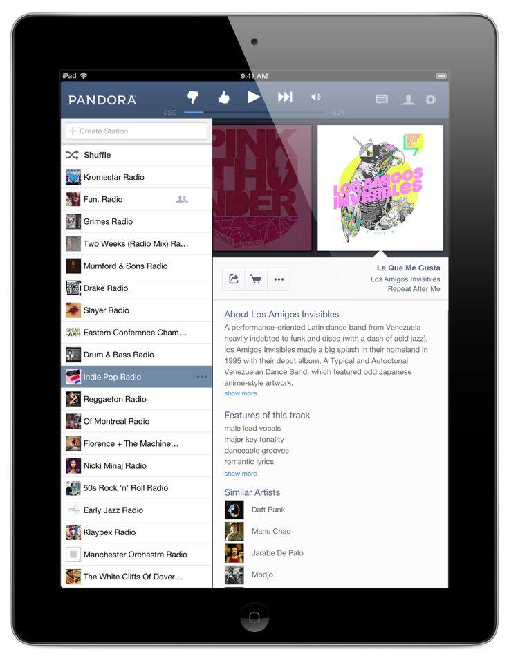 Pandora Tablet app Ipad, Desktop screenshot, App