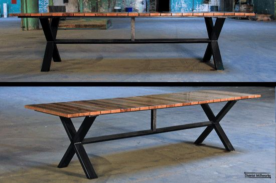 Picnic table by District Millwork.  Reclaimed oak top on welded steel frame.