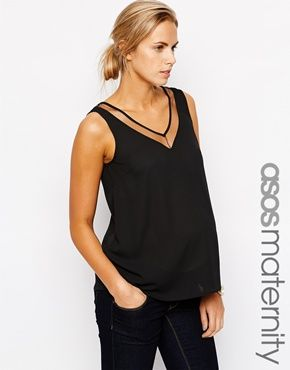 ASOS Maternity Tank With Sheer Insert And V Neck