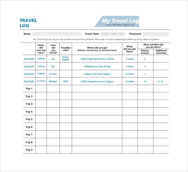 Travel Log Templates 12 Free Printable Word Excel Pdf